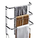 ZJM-towel rack Three-layer Towel Rack Bathroom Shelf Stainless Steel Creative Towel Hanger With Hooks Silver Mirror Surface (Size : 34cm)
