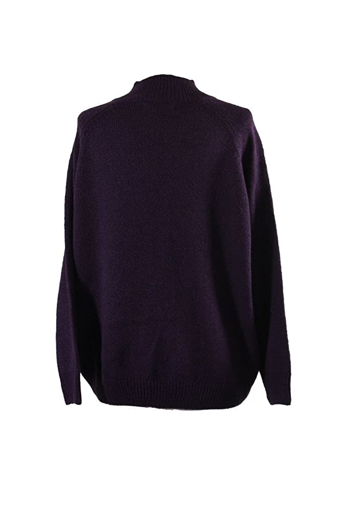cfc0f159eaeda Karen Scott Womens Plus Cable Knit Textured Mock Turtleneck Sweater Purple  1X at Amazon Women s Clothing store