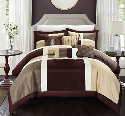 Embroidery Patchwork Comforter Set - Chic Home 7 Piece Alleta Patchwork Solid Color Block with Embroidery And Pintuck Decorative Pillows Comforter Set, King, Brown