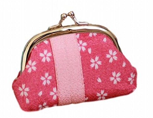 [POJ Japanese Style Coin Purse [Blue / Red ] Cherry Blossoms (Sakura) Pattern Cosplay Goods (Red)] (Disney Group Costumes Ideas)