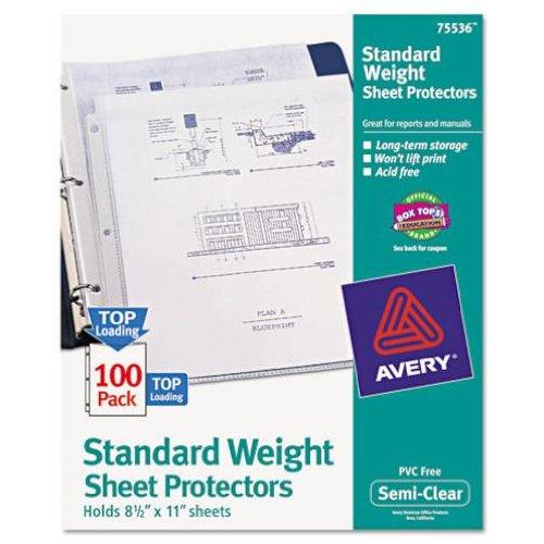 Avery Top Load Standard Polypropylene Sheet Protectors, Semi-Clear, 100/Box (75536)