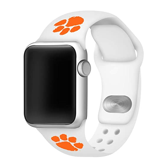 AFFINITY BANDS Clemson Tigers Silicone Sport Band Compatible with Apple Watch - (38mm/40mm White)