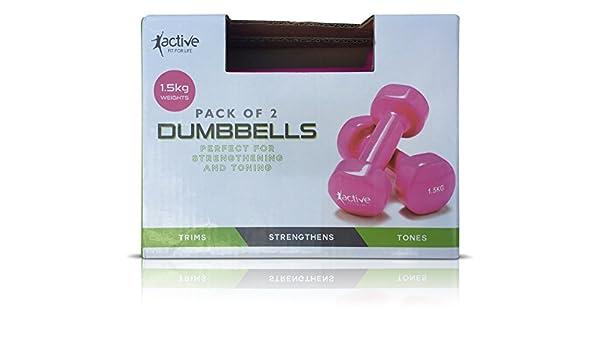 Pack de 2 rosa 1,5 kg mancuernas perfecto para fortalecimiento: Amazon.es: Deportes y aire libre