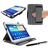 rooCASE Samsung GALAXY Tab 3 10.1 GT-P5210 Slim-Fit Multi Angle Case Cover - Black (with Pen Stylus)