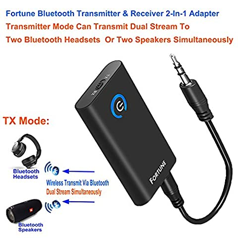 Fortune 2-In-1 Bluetooth Transmitter & Receiver With Pairing 2 Bluetooth Devices Simultaneously Wireless 3.5MM Audio Adapter A2DP CRS Chip Low Latency Chargeable Stereo For Car/ TV / Home Audio (Broadcast Tv Transmitter)