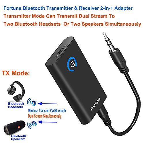 Fortune 2-In-1 Bluetooth Transmitter & Receiver With Pairing 2 Bluetooth Devices Simultaneously Wireless 3.5MM Audio Adapter A2DP CRS Chip Low Latency Chargeable Stereo For Car/ TV / Home Audio System