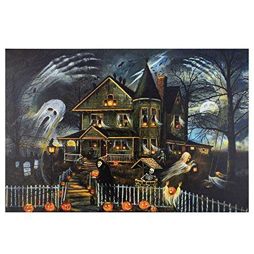 Led Canvas Wall Art Halloween (Northlight Large Creepy Haunted House Canvas Wall Art,)