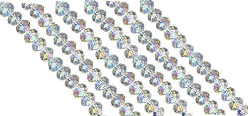 Linpeng AB-4_6x8 Opal Faceted Rondelle Opal Crystal Beads (6 Pack), 6 x 8mm
