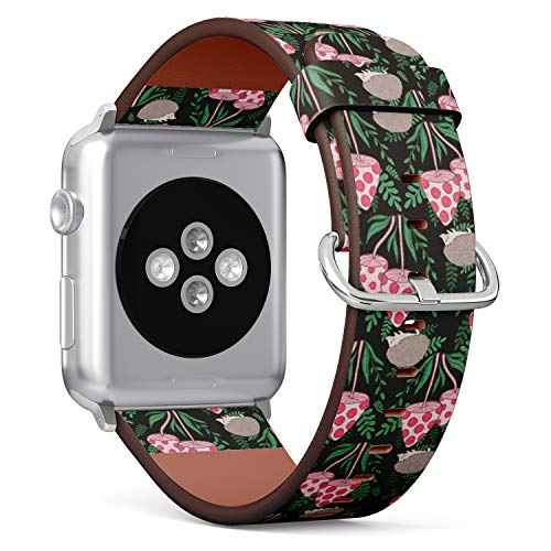 Compatible with Apple Watch Serie 4/3/2/1 (Big Version 42/44 mm) Leather Wristband Bracelet Replacement Accessory Band + Adapters - Tileable Farm Animal Barnyard