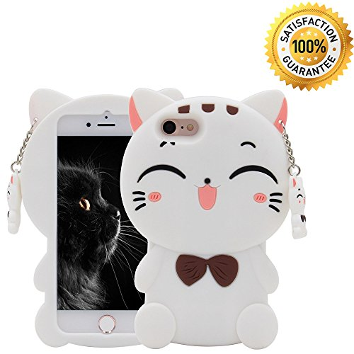 iPhone 7 Case, iPhone 8 Case, iPhone 6/6S Case,Cute 3D Cartoon Silicone Lucky Fortune Kitty Cat Kids Girls Animals Soft Rubber Shockproof Protector Shell Skin For iPhone 6/7/8 - White Bow Tie Cat