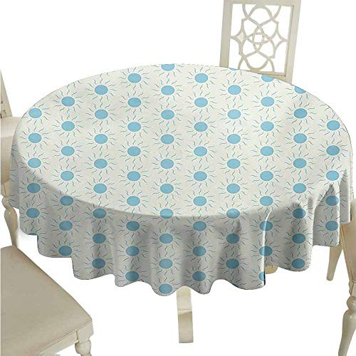 Aqua Spill-Proof Tablecloth Blue Sun Shape Circle and Swirl Sweet Aquatic Summer Themed Abstract Design Print Easy Care D47 Blue White