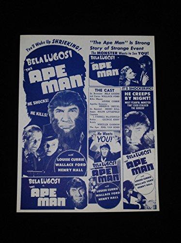THE APE MAN 1943 * BELA LUGOSI * WALLACE FORD * HORROR HERALD * RARE!!