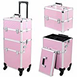 4- Wheel Rolling Makeup Train Case with Drawer Bar and Mirror