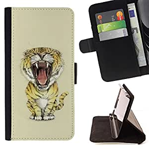 BETTY - FOR Sony Xperia Z1 Compact D5503 - Meow Big Tiger Lion Cat - Style PU Leather Case Wallet Flip Stand Flap Closure Cover