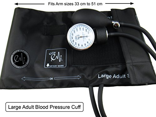 EMI Aneroid Sphygmomanometer Manual Blood Pressure Cuff - Plus Carrying Case (Large Adult - Black)