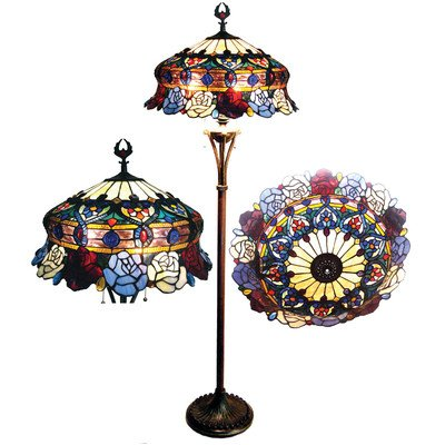 Chloe Lighting CH20B547-FL3 Tiffany-Style Roses 3-Light Floor Lamp with 20-Inch Shade
