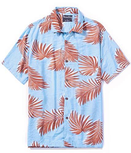 Men's Hawaiian Top Short Sleeve Aloha Top Beach Party Top Holiday Print Hawain Top 2XL]()