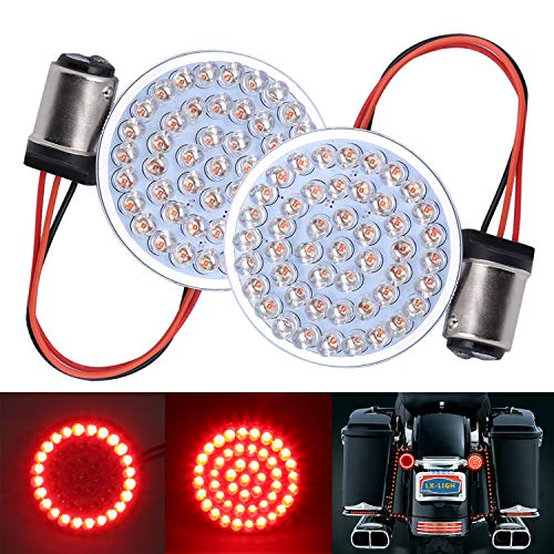 LX-LIGHT Pair 2'' Bullet Style Rear Brake Light LED Turn Signal Kit with 1157 Base for Honda Yamaha Motorcycles