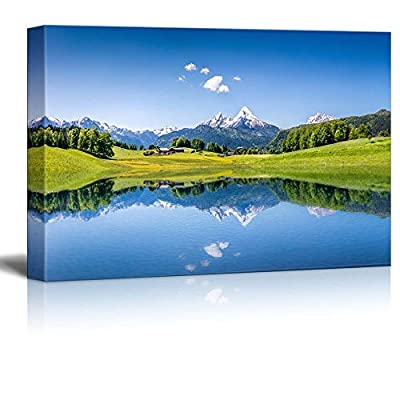 Classic Design, Elegant Object of Art, Beautiful Scenery Landscape Idyllic Summer Landscape with Clear Mountain Lake in The Alps Home Deoration ing ped Wall Decor