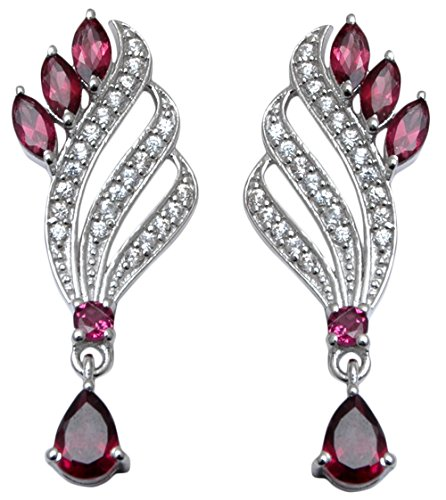 Banithani 925 Pure Silver Rhodolite Garnet Stone Dangle Earrings Women Fashion Jewelry