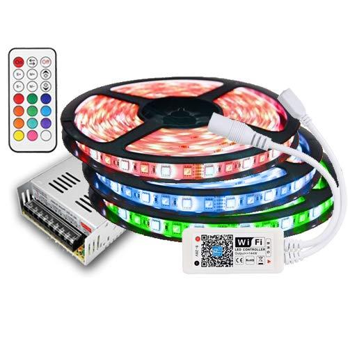 15m IP20 RGBW (RGB+Kaltweiß) LED Streifen mit 900 LEDs (SMD 5050) +WLAN WiFi controll mit Amazon Alexa Smartphone +12v 16A 200W Netzteil STROMVERSORGUNG für Haus & Garten Outdoor Decorative