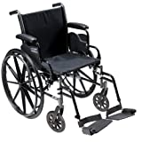 """Cruiser III Light Weight Wheelchair with Flip Back Removable Arms, Desk Arms, Swing away Footrests, 18"""" Seat"""