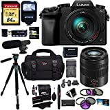 Panasonic G7HK 4K Digital Mirrorless Camera 14-140mm Lens Kit, Panasonic H-FS45150AK Lumix G Vario 45-150mm HFS45150 Lens, Transcend 64GB, Polaroid Tripod, Flash, Microphone, Filter & Accessory Bundle