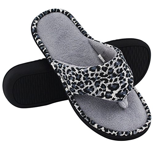 c8813ae7a4c HomeTop Women s Leopard Memory Foam Spa Thong Flip Flops Indoor House  Slippers (7-8