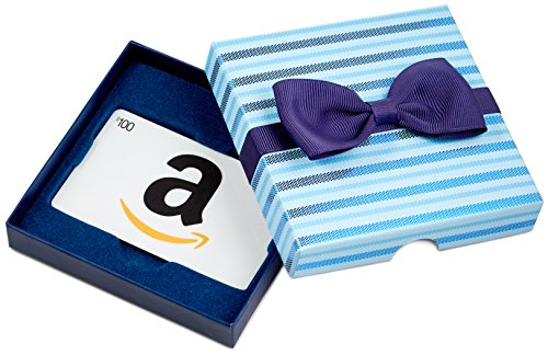 - Amazon.com $100 Gift Card in a Blue Bow-Tie Box (Classic White Card Design)