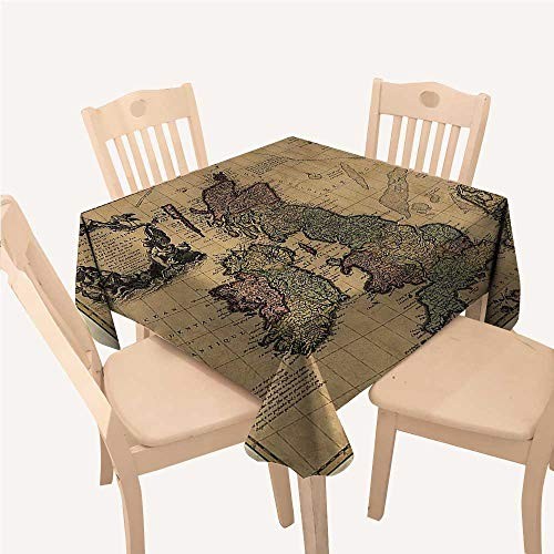 Wanderlust Decor Collection Small Tablecloth British Islands Scotland England European History Books Britain Grunge ArtworkBeige Olive Ivory Square Tablecloth W70 xL70 -