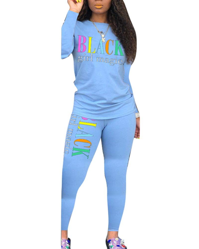 Uni Clau Women's Letter Two-Piece Outfit Tracksuit - Casual Long Sleeve Pullover Bodycon Jogger Pants Set Jumpsuit Rompers Light Blue by Uni Clau