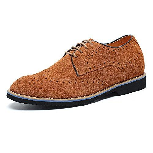 CHAMARIPA Zapatos Brogues Gamuza Para Hombre Para ser 7 cm Más Alto - L61C20K013D (42, Gris)
