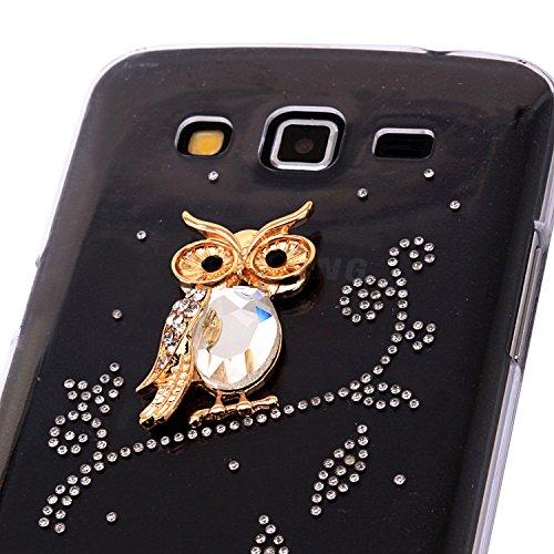 Owl High Quality 3d Handmade Clear Bling Crystal Rhinestone Diamond Skin Case Cover for Samsung Galaxy Grand2 G7106 - Crystal 7106 Case