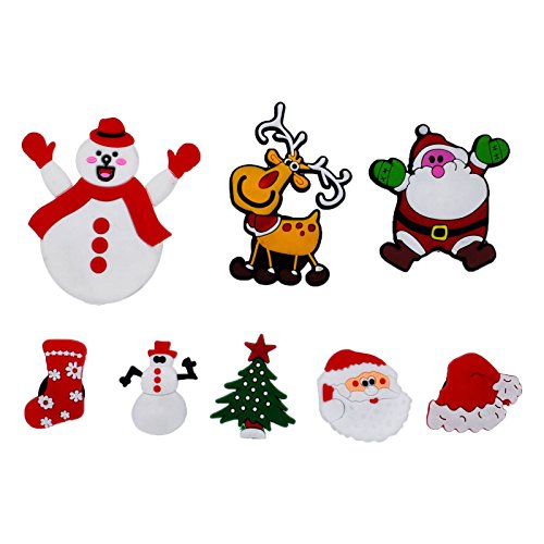 XHAOYEAHX Christmas Magnets Refrigerator Magnet Fridge Magnetic Funny Stickers Home Decor for Refrigerator Office Cabinets Whiteboards Photo, Santa Christmas Decorative Set - 8PCS