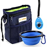 FURRYFIDO Dog Treat Training Pouch with Poop Bags Dispenser, Collapsible Food Water Bowl, Training Clicker, Extra Long Waist Belt and Over Shoulder Strap, Carries Treats, Toys, Keys etc. (Blue)