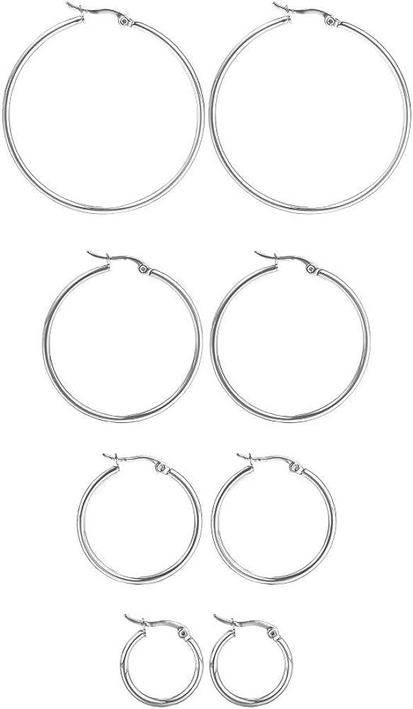 HooAMI 4 Pairs Stainless Steel Hoop Earrings Set for Women Girls Medium Hoop Earirings 20mm-45mm