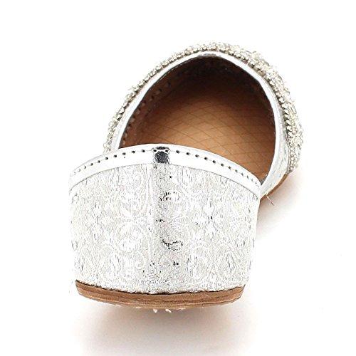 Del Cerrado El Pie Plata A Khussa Cuero Indio Dedo Mano Tamaño Mujer Señoras Zapatillas Plano Zapatos Hecho Ponerse Novia Tradicional Étnica qtEYFqwxBX