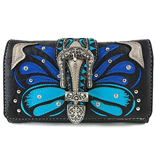 Justin West Abstract Butterfly Buckle Black Conceal Carry Handbag (Blue - Justin Blue