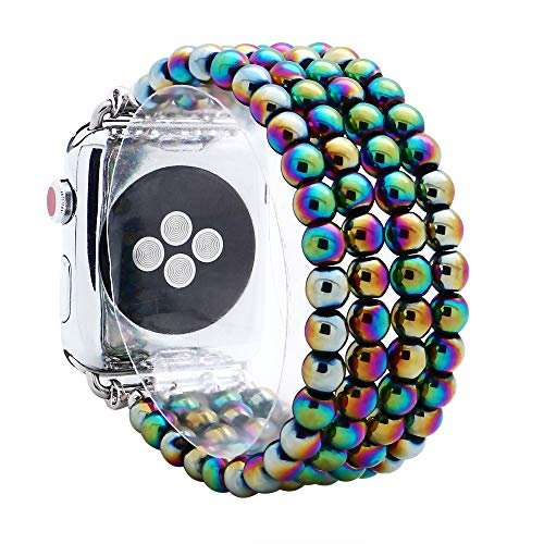 KAI Top Compatible with iWatch Band 38mm 42mm, Unisex Fashion Handmade Beaded Elastic Jewelry Bracelet Band Strap Replacement iWatch Bands Series 3 2 1 (Rainbow 6mm Bead, ()
