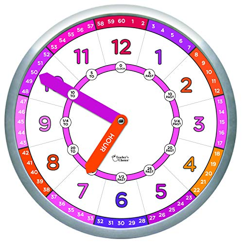 Educational Wall Clock – Silent Movement Time Teaching Clock for Teacher s Classrooms and Kid s Bedrooms with Window Hands, Perfect for Children with Special Needs.