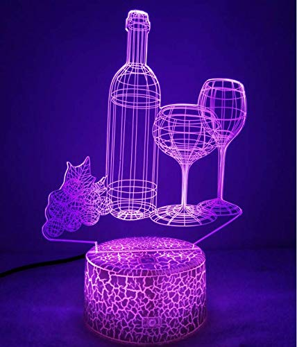 Optical Illusion 3D Red Wine Glass Bottle Night Light 7 Colors Changing USB Power Touch Switch Decor Lamp LED Table Desk Lamp Brithday Children Kids Christmas Xmas Gift ...
