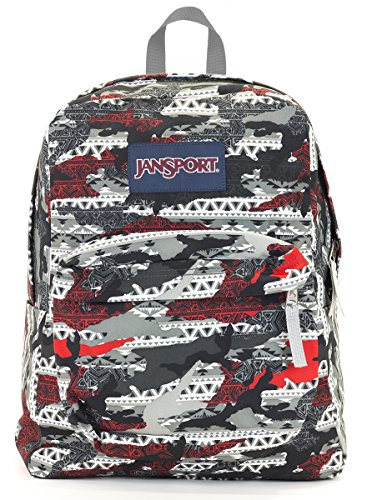 Jansport Superbreak Backpack (High risk red aztec camo)