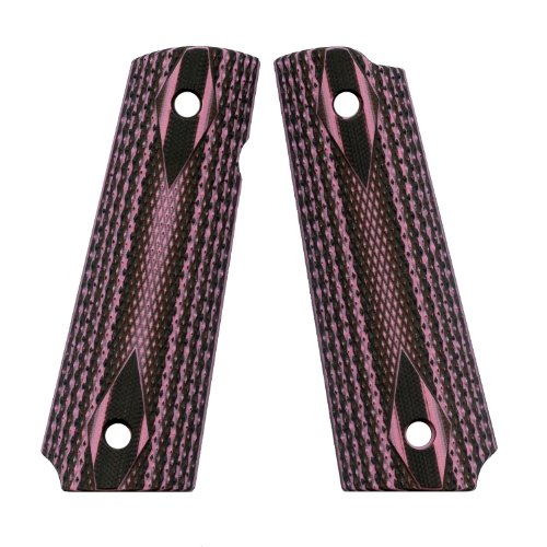 VZ Grips Double Diamond Full Size 1911 Gun Grip, Zebra Pink (Pink Zebra Diamond)