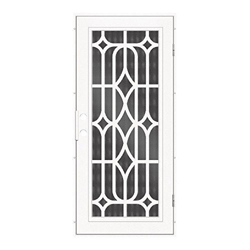 Perforated Metal Surface Mount - Unique Home Designs 36 in. x 80 in. Essex White Right-Hand Surface Mount Security Door with Black Perforated Metal Scree
