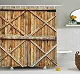 Rustic Shower Curtains Ambesonne Rustic Shower Curtain, Traditional Wooden Timber Door with Vertical and Planks Farmhouse Antique Photograph, Fabric Bathroom Decor Set with Hooks, 75 Inches Long, Brown