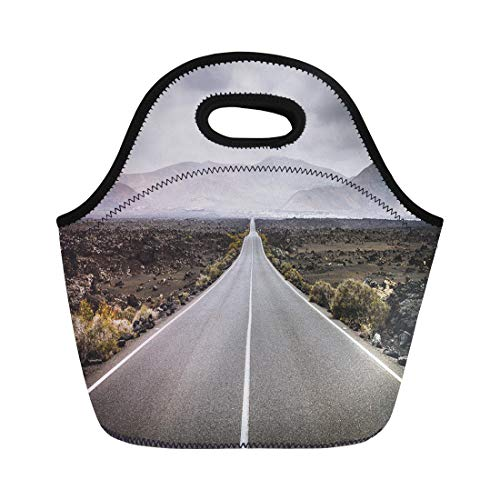 Semtomn Lunch Tote Bag Endless Road to Timanfaya National Park in Lanzarote Canary Reusable Neoprene Insulated Thermal Outdoor Picnic Lunchbox for Men Women