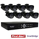 First Alert SmartBridge DVR Video Security System, 8-Channel and 8 Night Vision 560-TVL Cameras (DCA8810-560BB) by First Alert