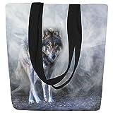 InterestPrint Cool Wolf in Mist Canvas Tote Bag Shoulder Handbag