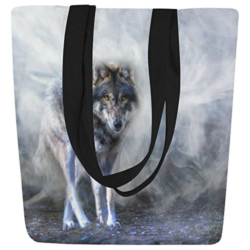InterestPrint Cool Wolf in Mist Canvas Tote Bag Shoulder Handbag by InterestPrint