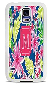 Initial M Surrounded by Flowers White Silicone Case for Samsung Galaxy S5 by ruishername